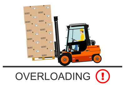 Forklift tipping over